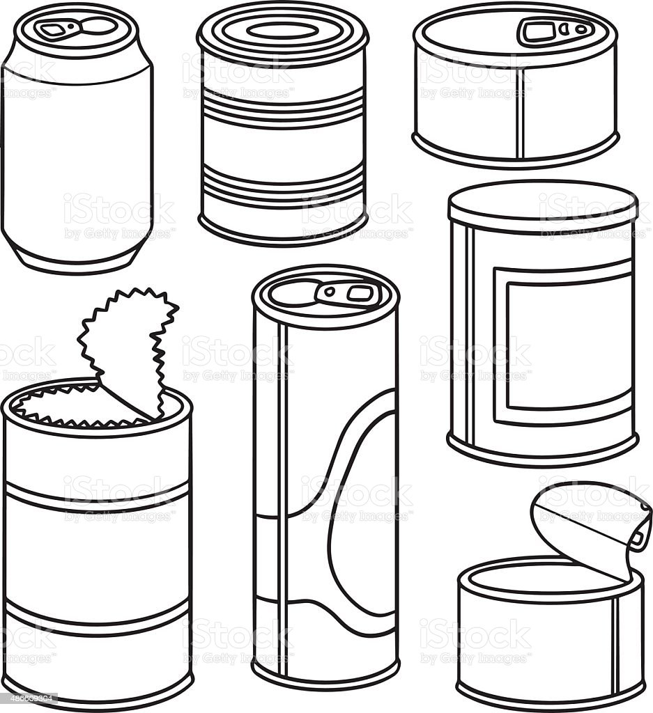 vector set of can vector art illustration