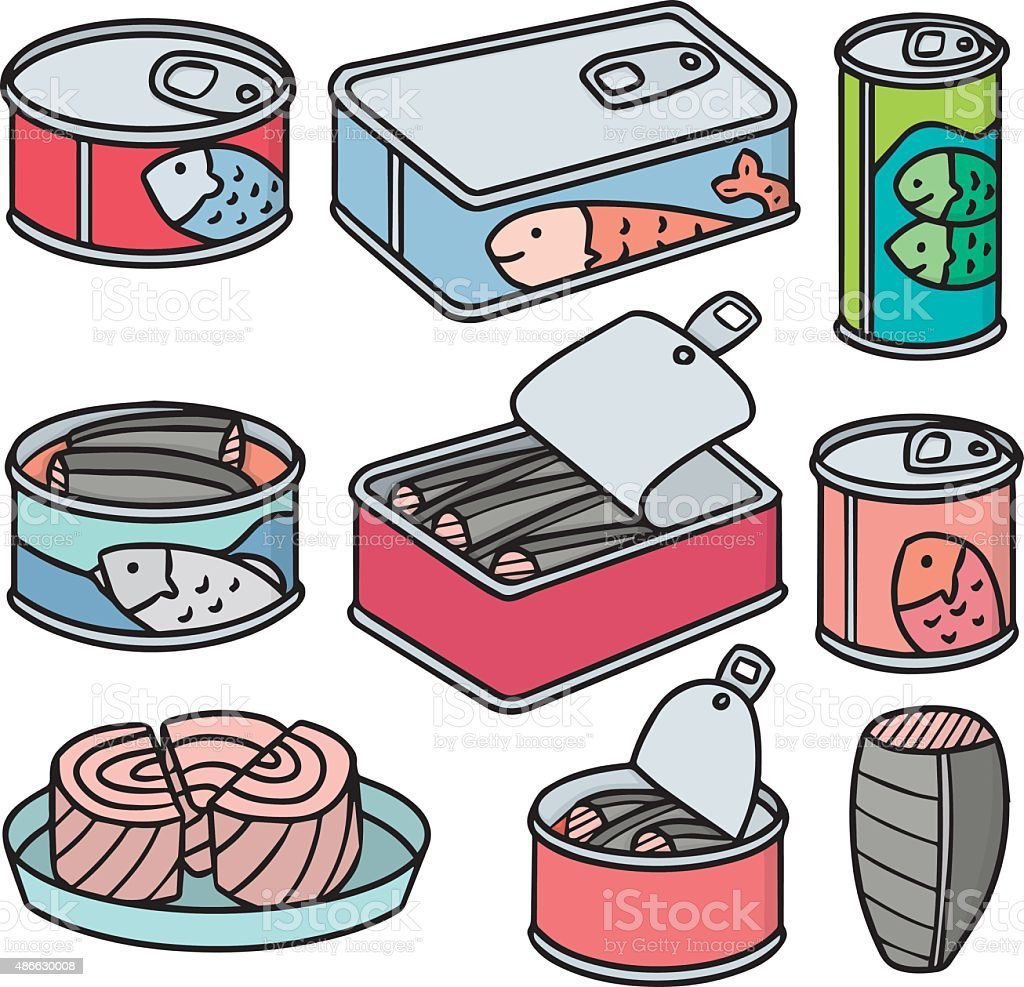 vector set of canned fish vector art illustration
