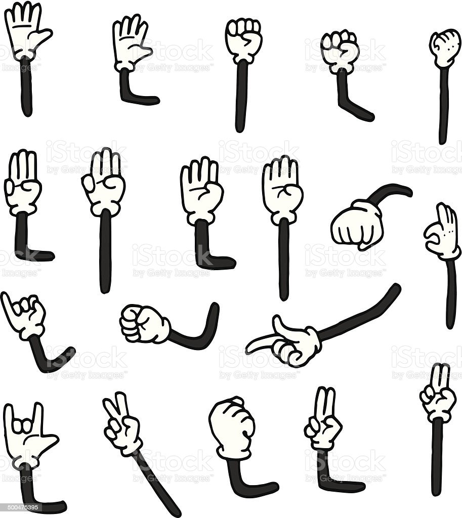 vector set of cartoon arms vector art illustration