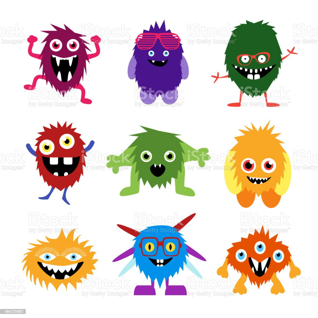 Vector set of cartoon cute monsters and aliens vector art illustration
