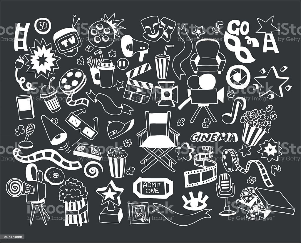 Vector set of cartoon doodle icons Cinema vector art illustration
