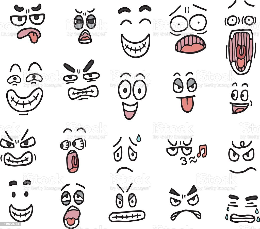 vector set of cartoon face vector art illustration