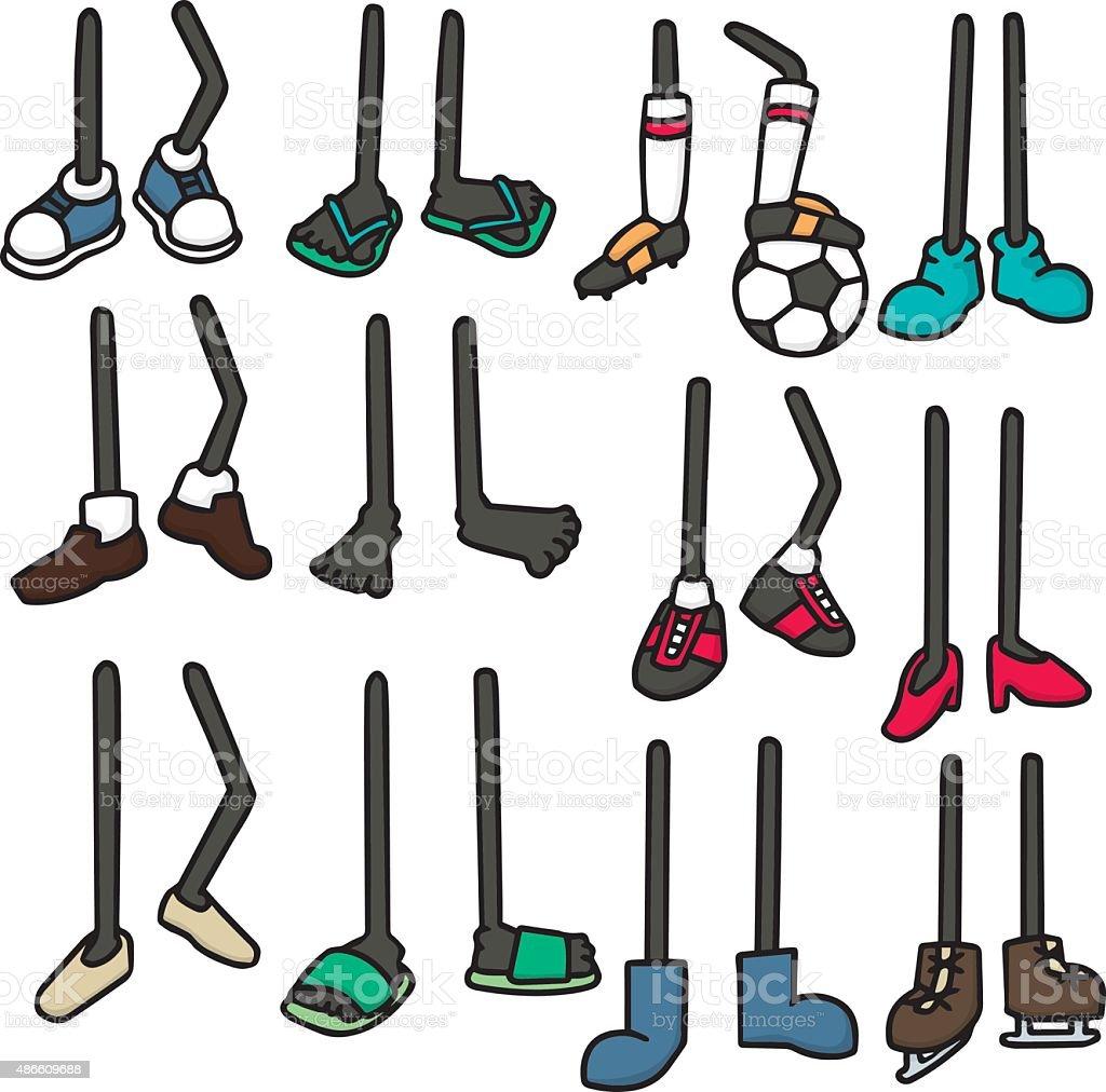 vector set of cartoon legs vector art illustration