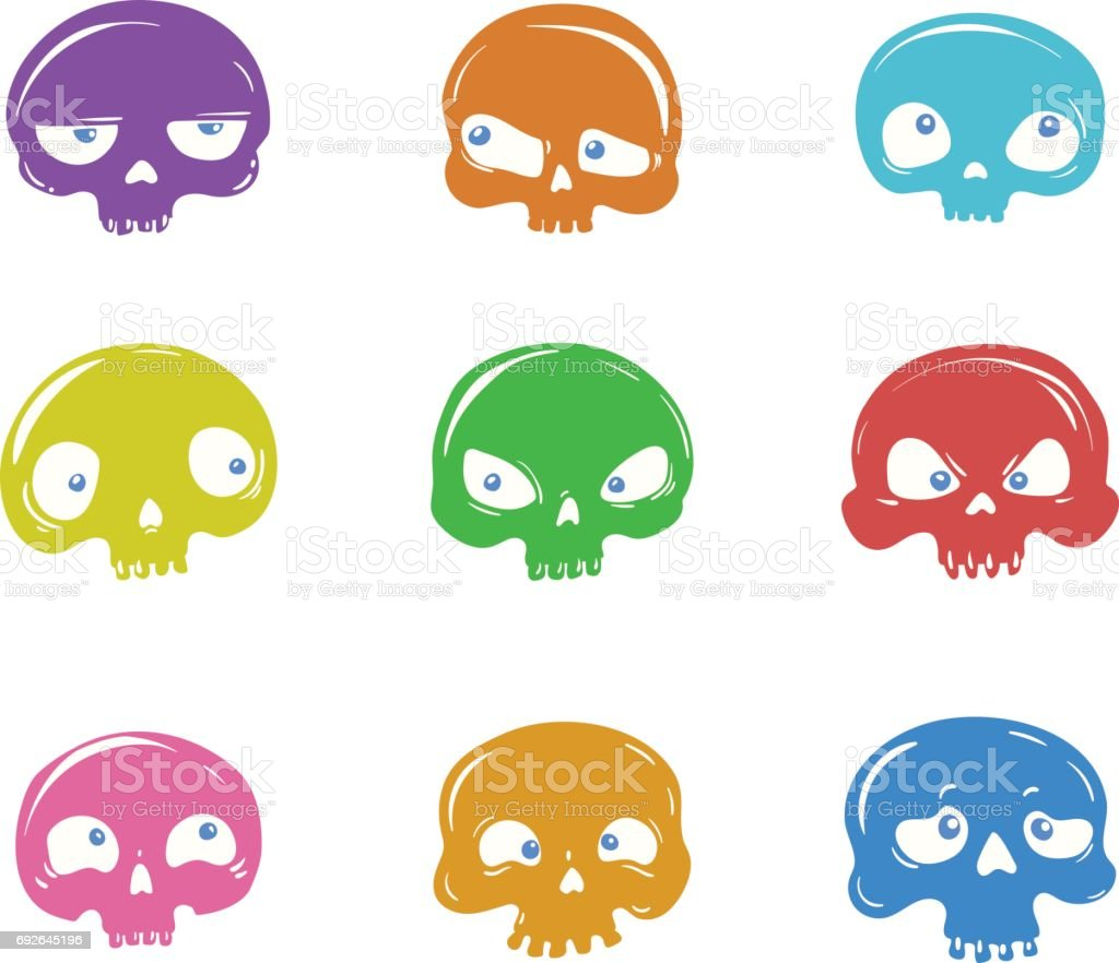 vector set of cartoon skulls stock vector art 692645196 istock