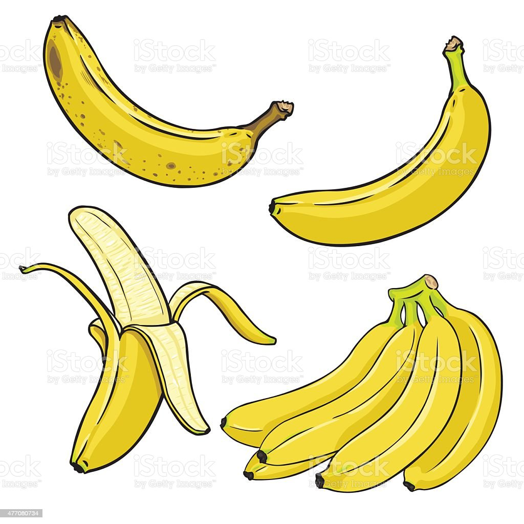 Vector Set of Cartoon Yellow Bananas vector art illustration