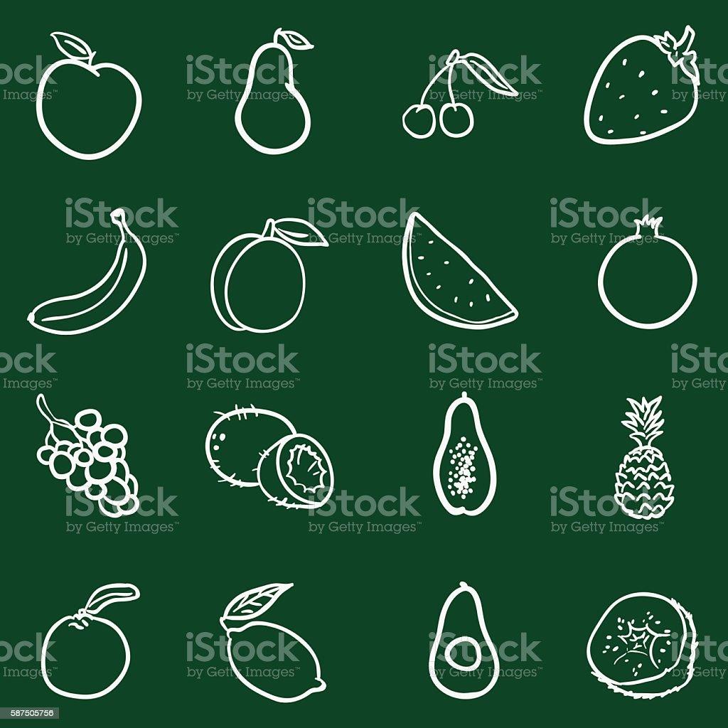 Vector Set of Chalk Doodle Fruits Icons. vector art illustration