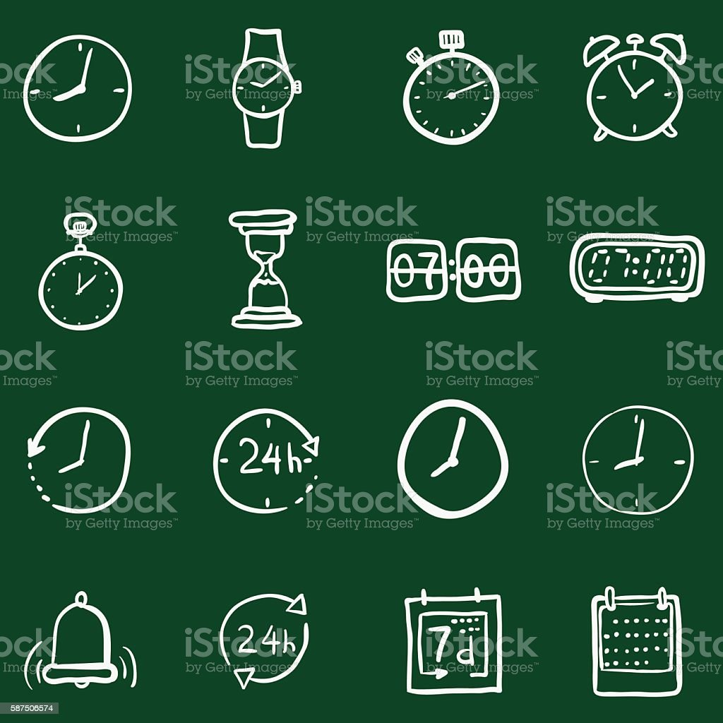 Vector Set of Chalk Doodle Time Icons vector art illustration