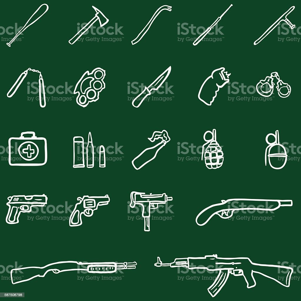 Vector Set of Chalk DoodleWeapon Icons vector art illustration