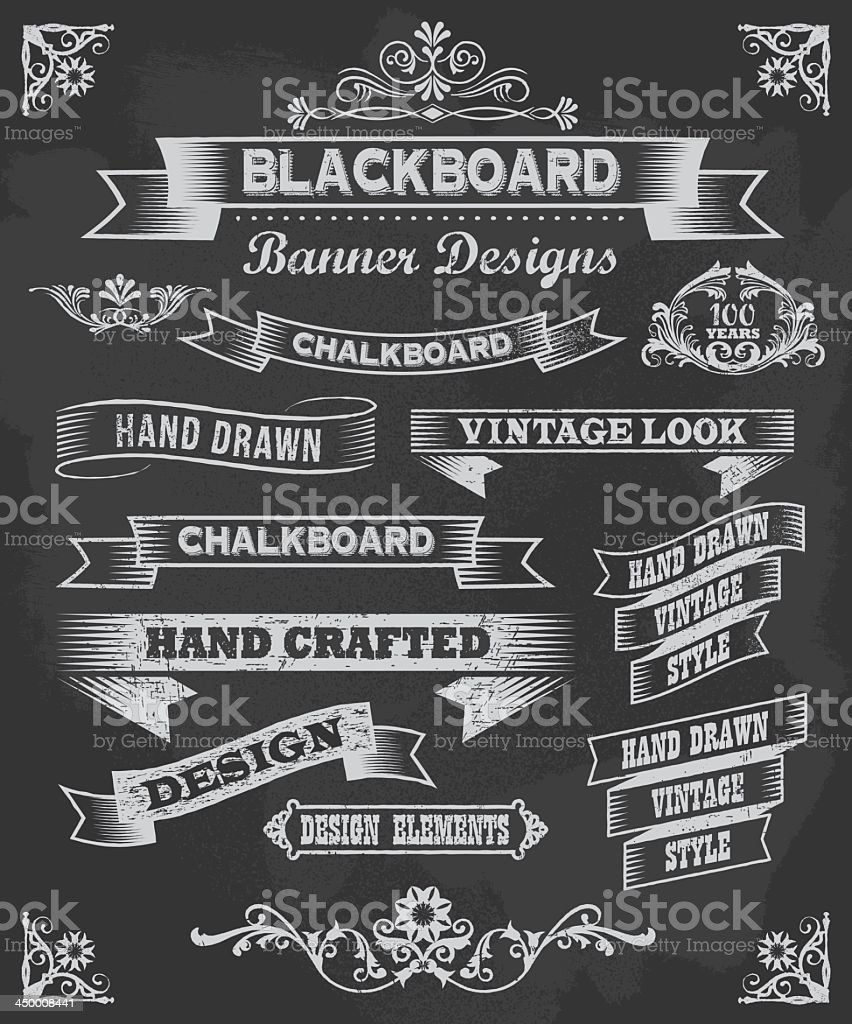 Vector set of chalkboard banner design icons royalty-free stock vector art