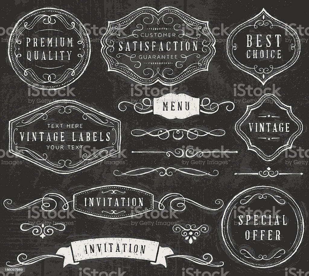 Vector set of chalkboard design elements royalty-free stock vector art