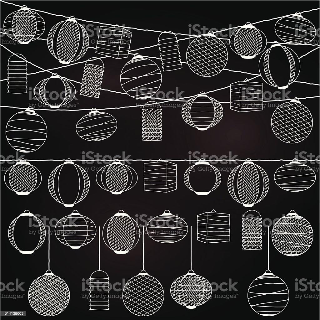 Vector Set of Chalkboard Style Hanging Paper Holiday Lanterns vector art illustration