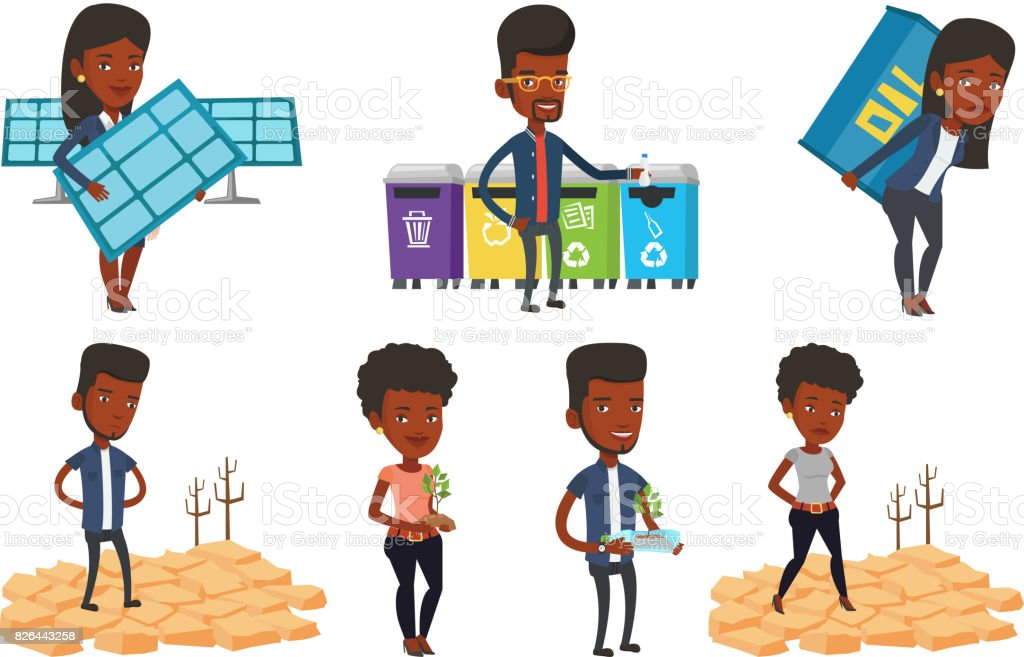 Vector set of characters on ecology issues vector art illustration
