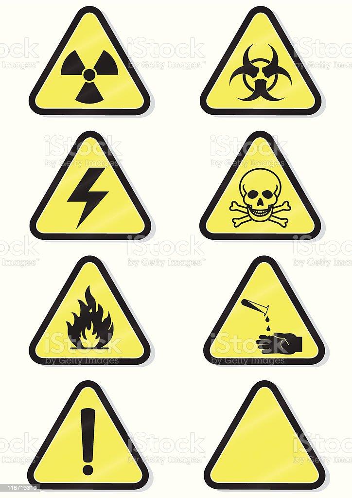 Vector set of chemical warning signs royalty-free stock vector art