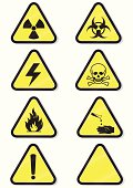 Vector set of chemical warning signs