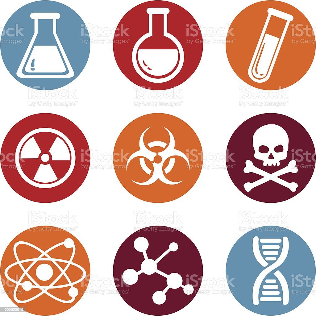 Vector Set of Chemistry Icons. vector art illustration