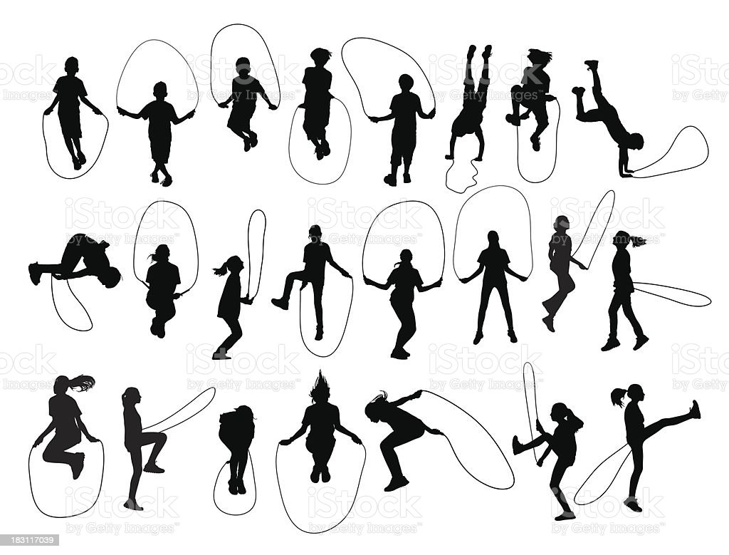 Vector set of children shapes playing jumping rope vector art illustration
