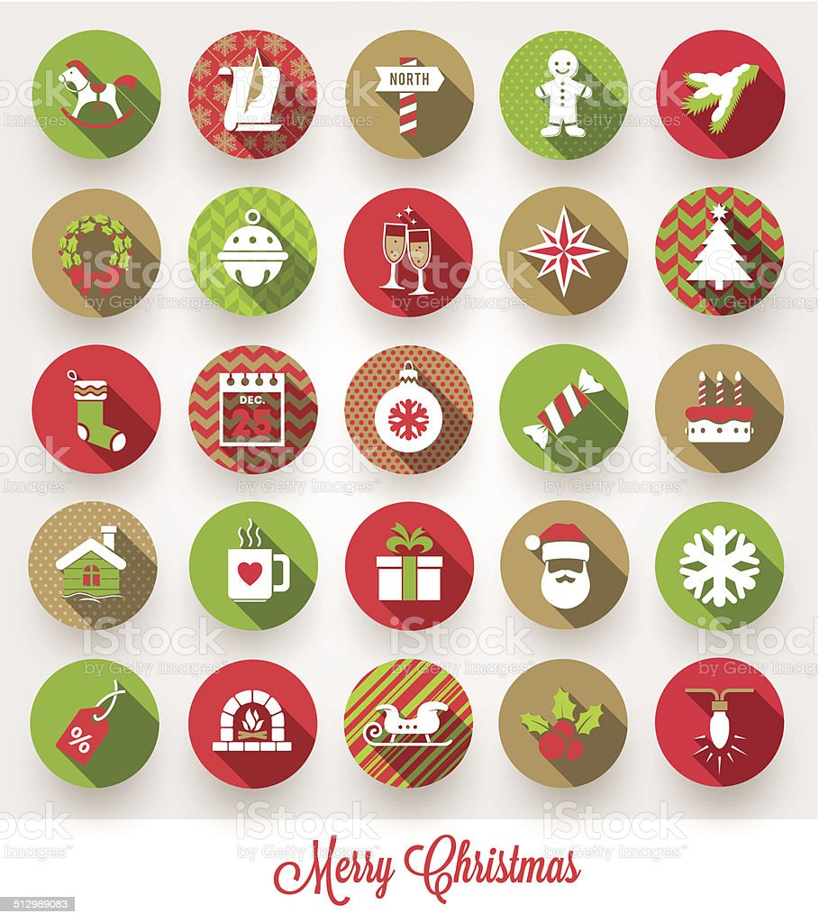 Vector set of Christmas flat icons with long shadows vector art illustration