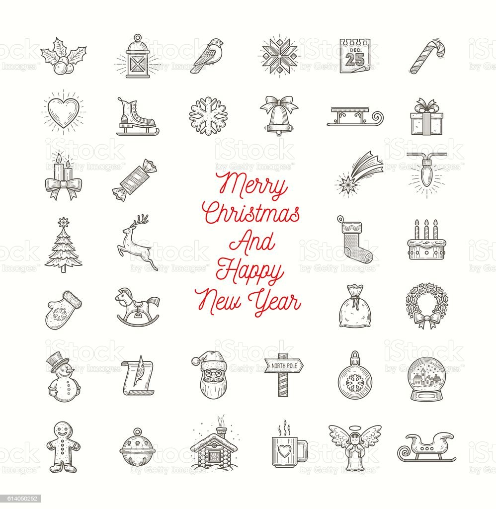 Vector set of Christmas line art icons vector art illustration