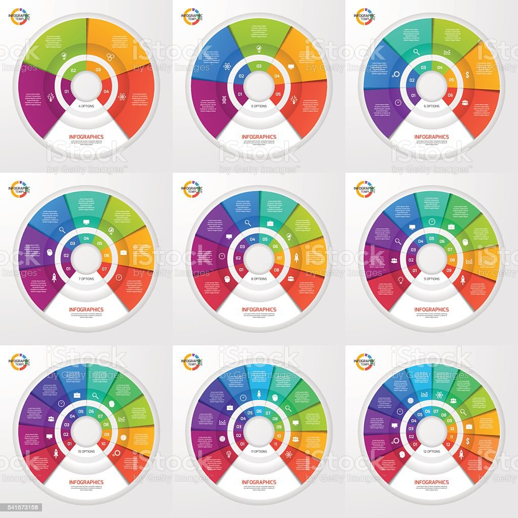 Vector set of circle infographic templates for graphs, charts royalty-free stock vector art