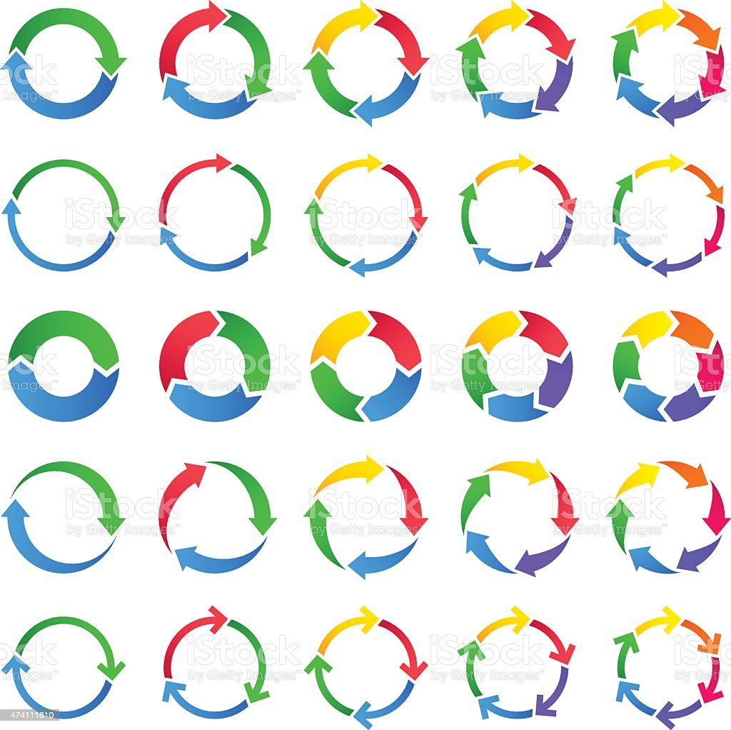 Vector set of circles of arrows vector art illustration