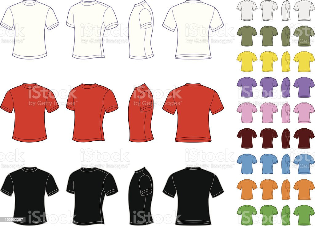 Vector set of classic men's T-shirts vector art illustration