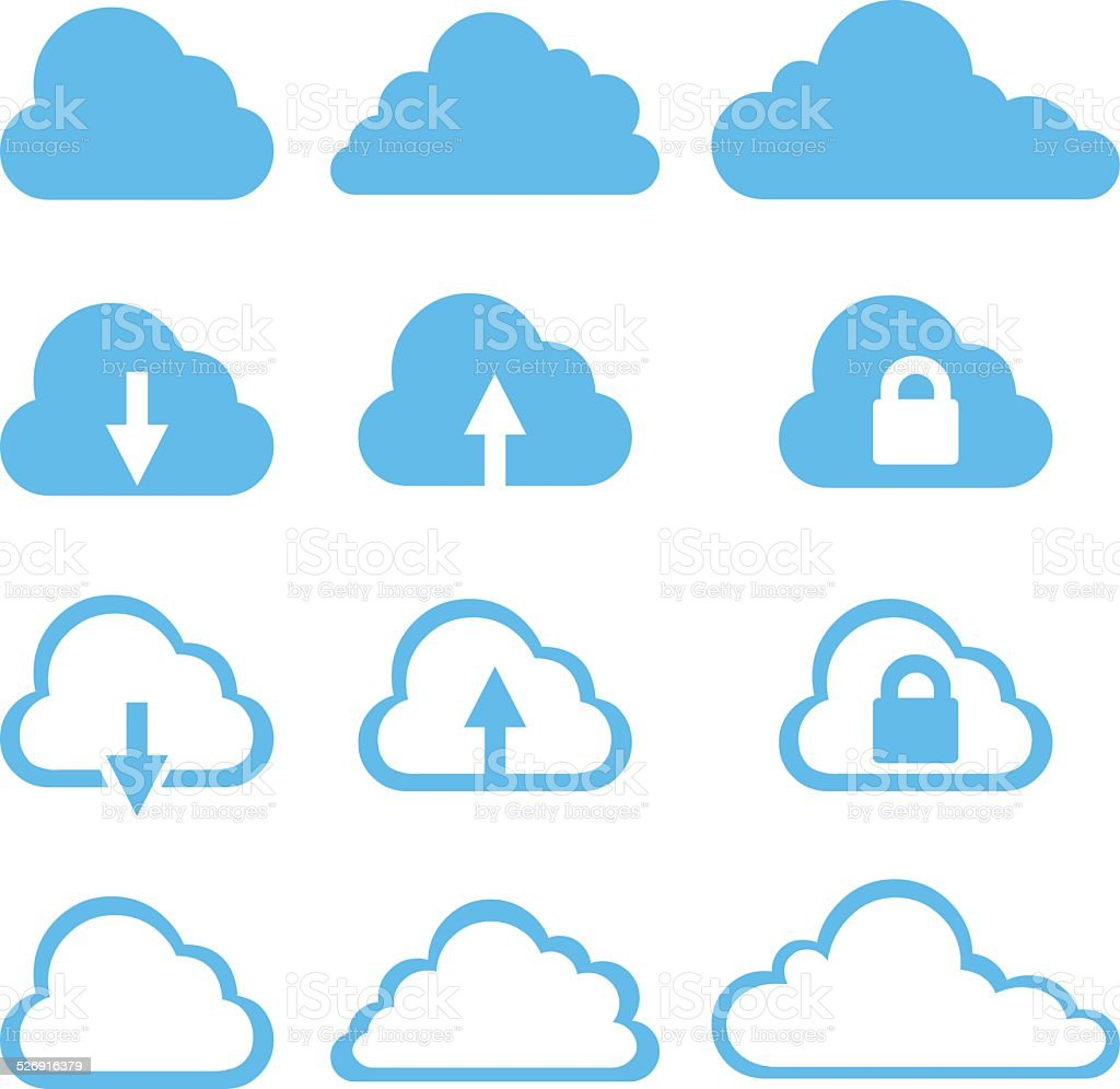 Vector Set of Cloud Icons vector art illustration