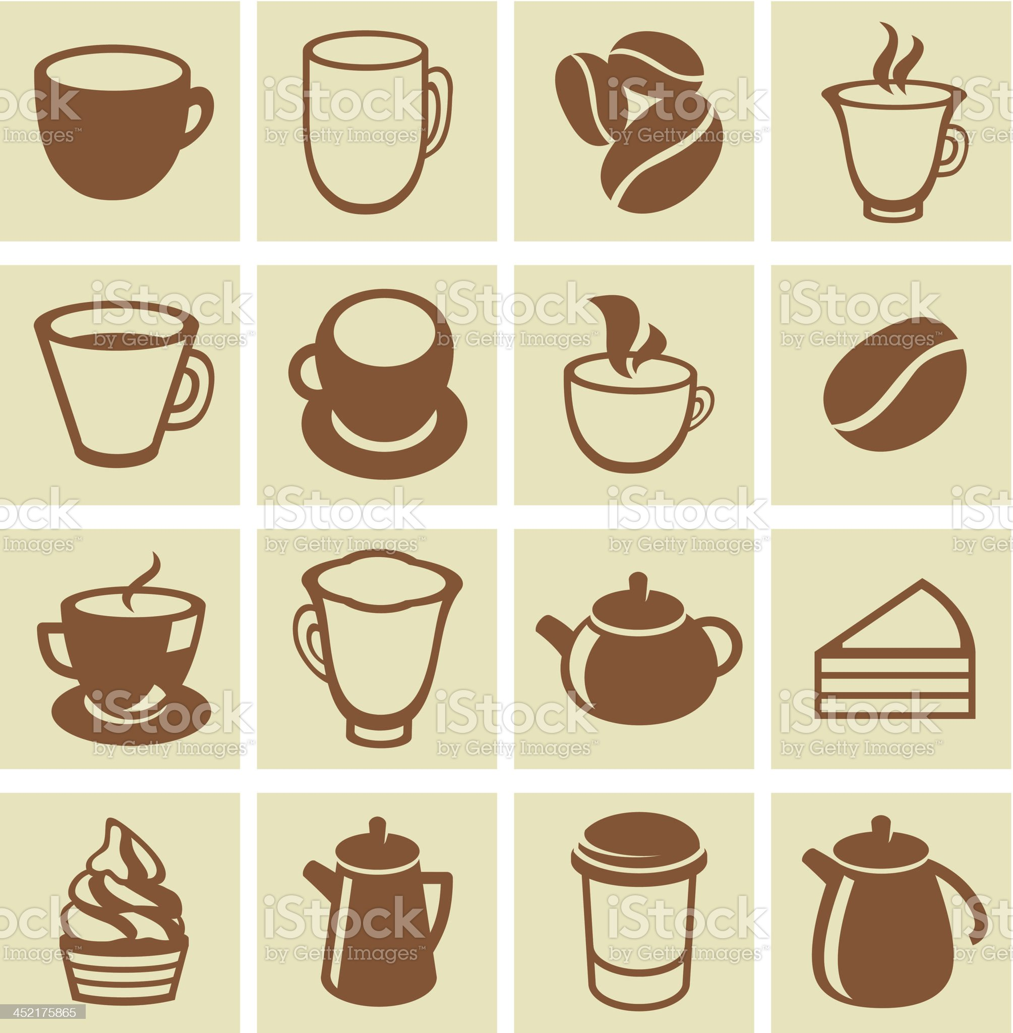 Vector set of coffee and tea icons royalty-free stock vector art