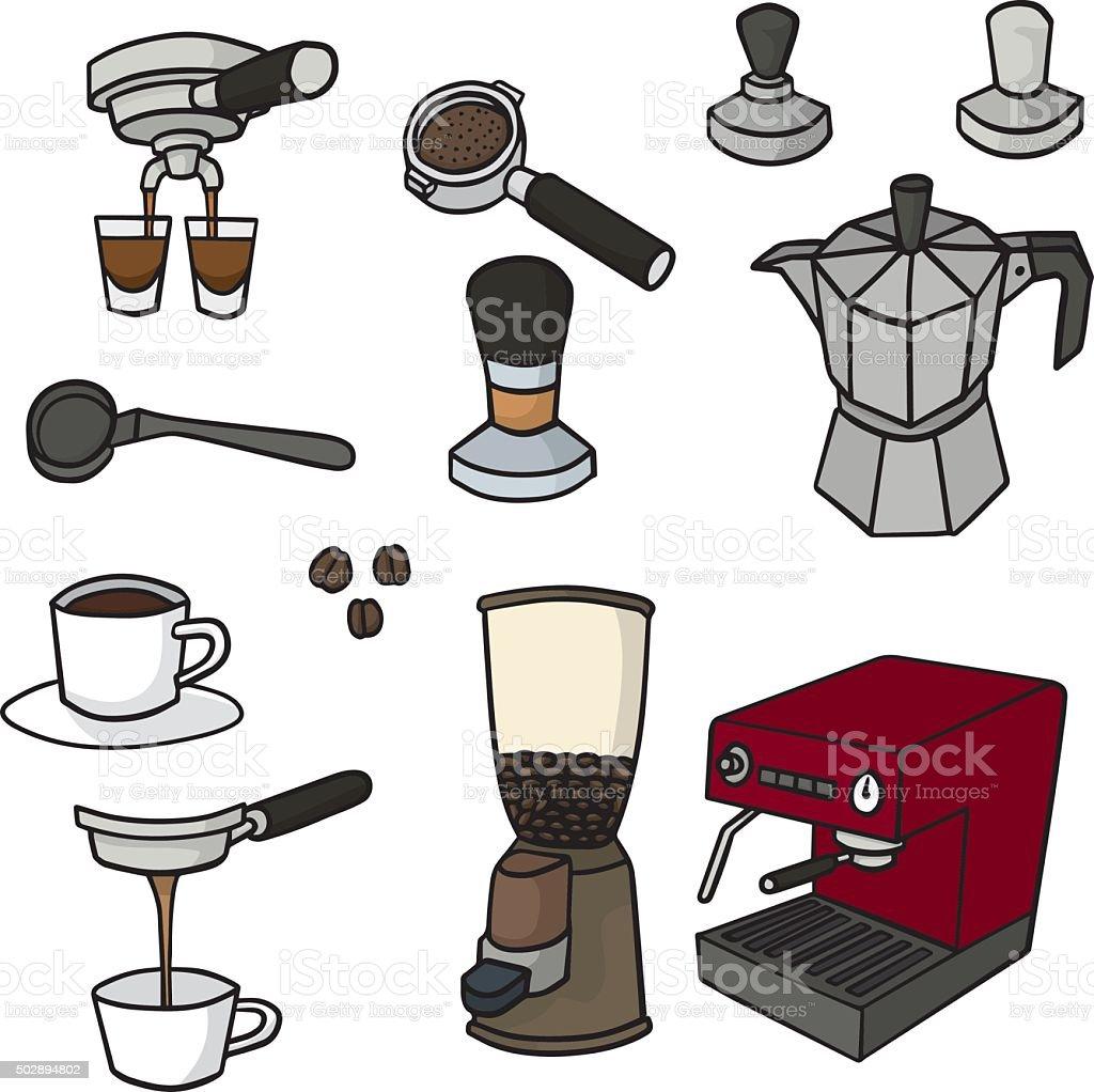 vector set of coffee maker vector art illustration