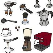 vector set of coffee maker