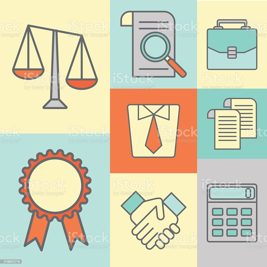 Vector set of color flat line icons for law firm vector art illustration