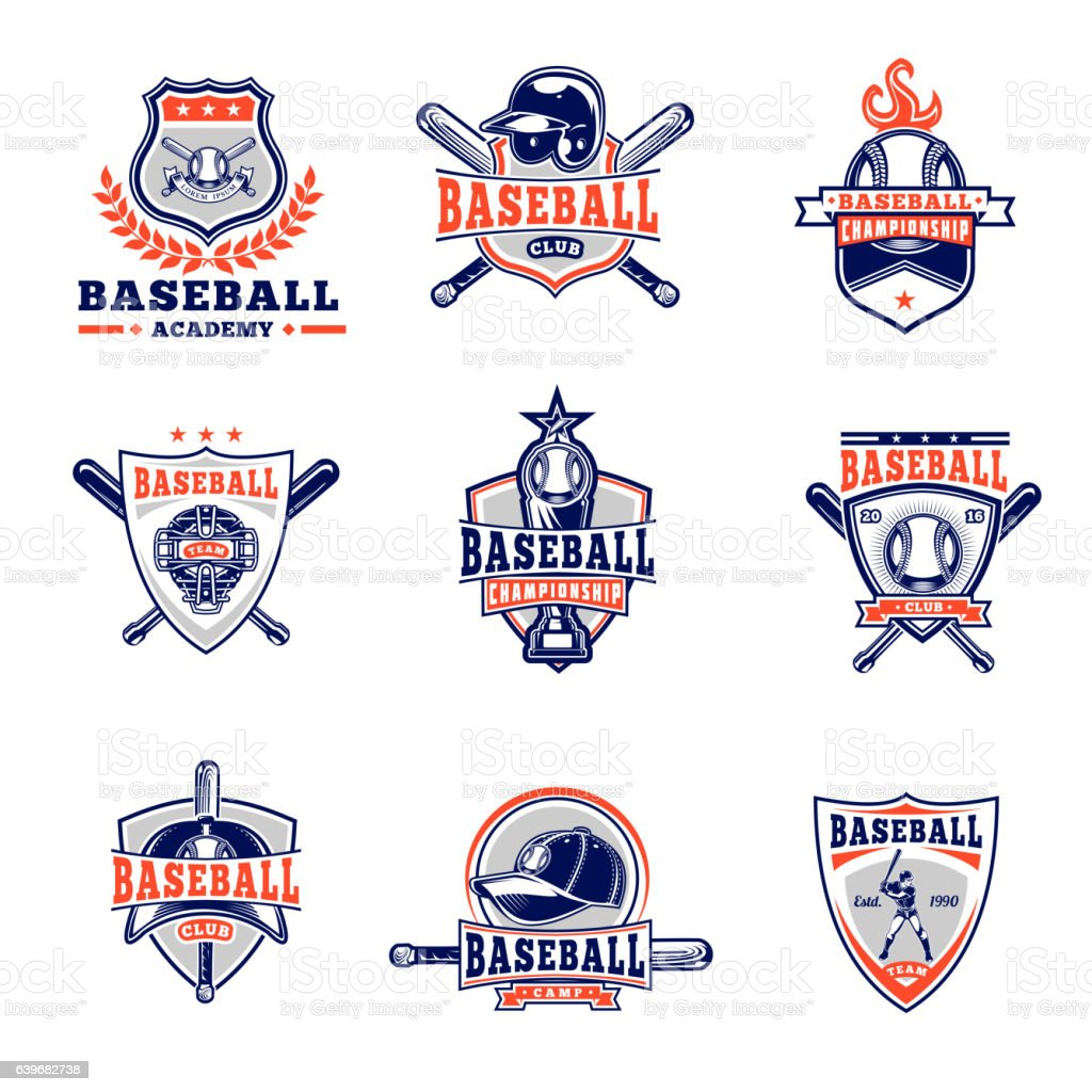 Vector set of colored baseball badges, stickers, emblems vector art illustration