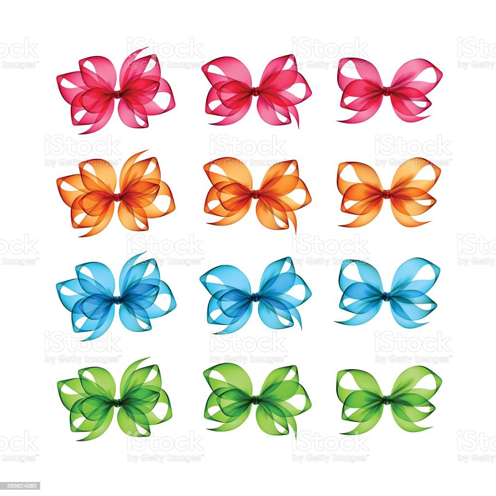 Vector Set of Colored Bright Gift Bows Isolated on Background vector art illustration