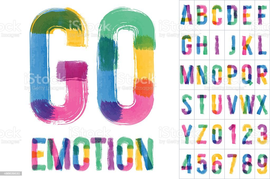 Vector set of colorful brush font vector art illustration