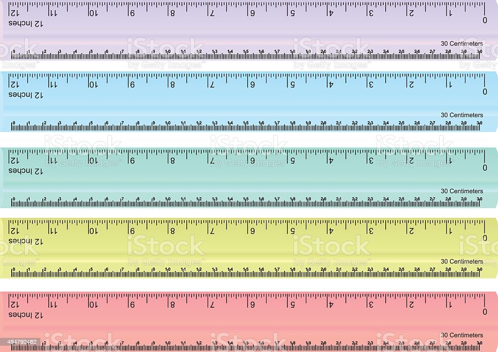 vector set of colorful rulers, millimeters, centimeters and inches vector art illustration