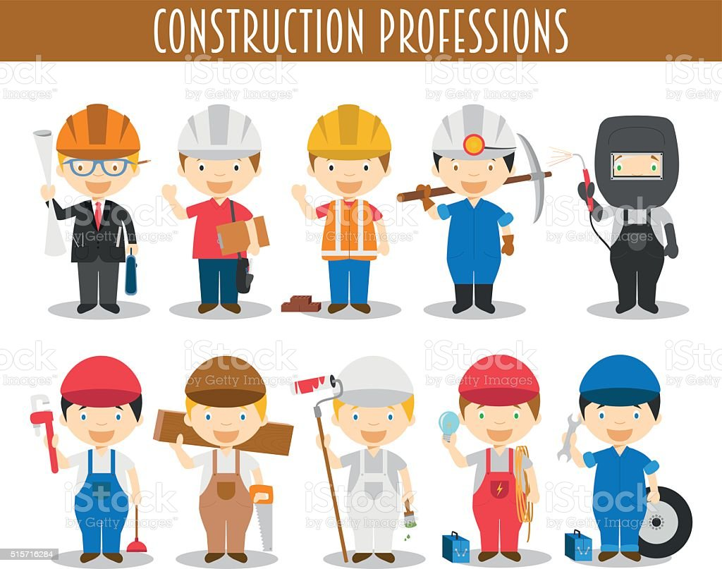 Vector Set of Construction Professions in cartoon style vector art illustration
