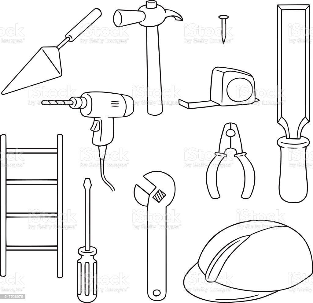 vector set of construction tool vector art illustration