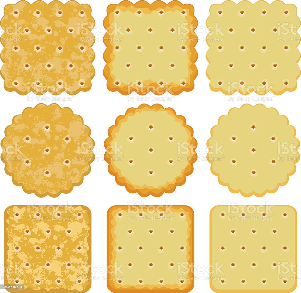 vector set of cracker chips vector art illustration