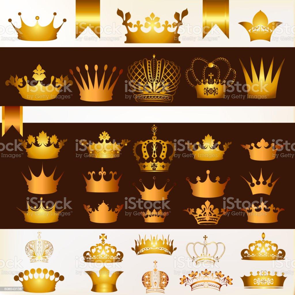Vector set of crowns for your heraldic design vector art illustration