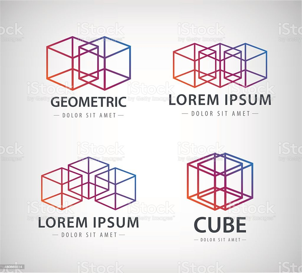 Vector set of cube construction logos, icons vector art illustration