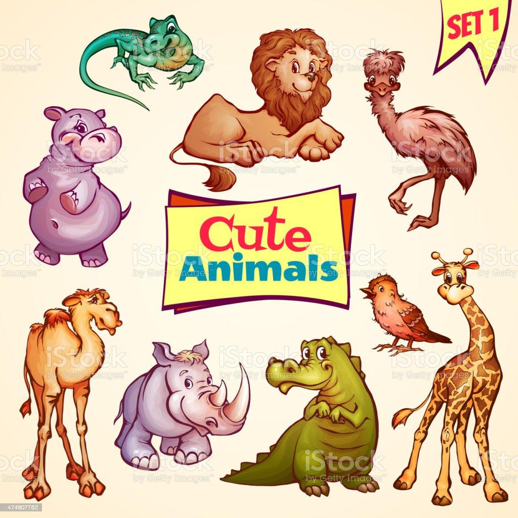 Vector set of cute animals. Lion, rhino, giraffe and etc vector art illustration