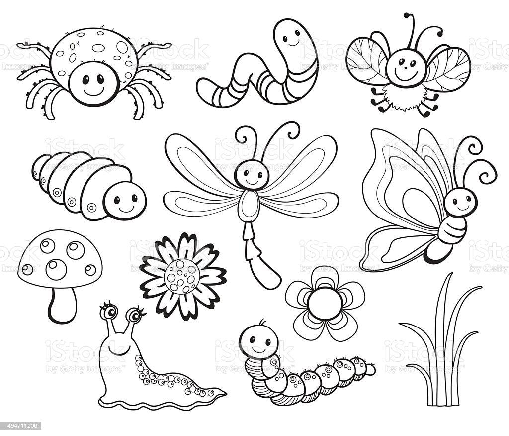 Vector Set of Cute Cartoon Bug Line Art, coloring. vector art illustration