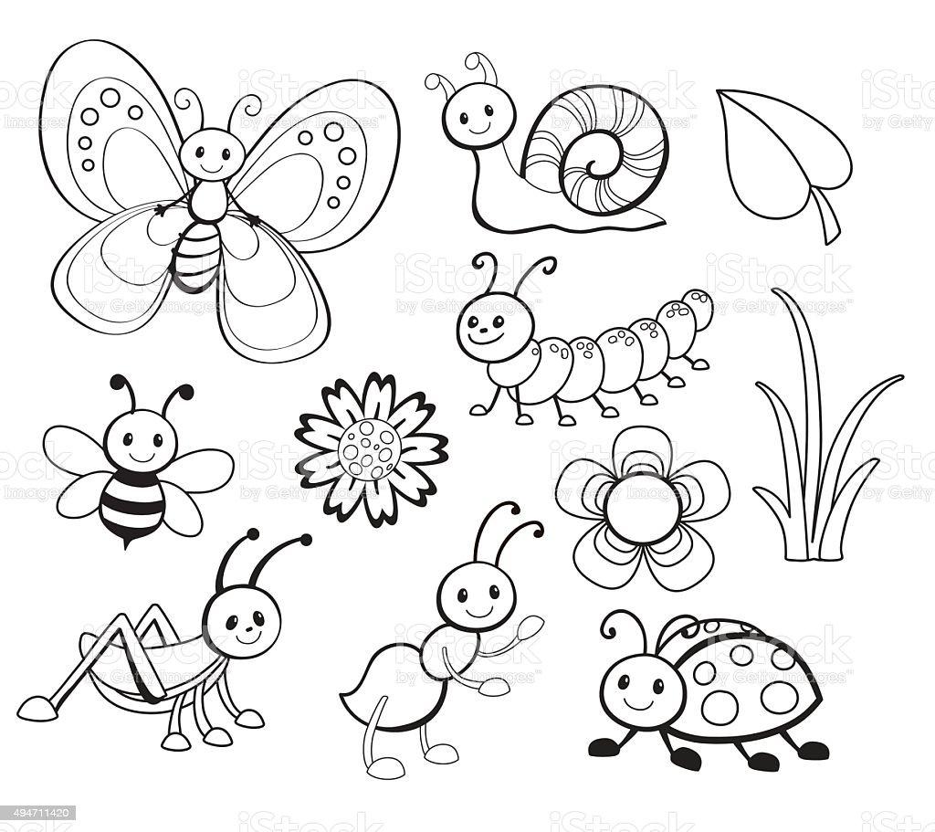 Vector Set of Cute Cartoon Bug Line Art, Coloring vector art illustration