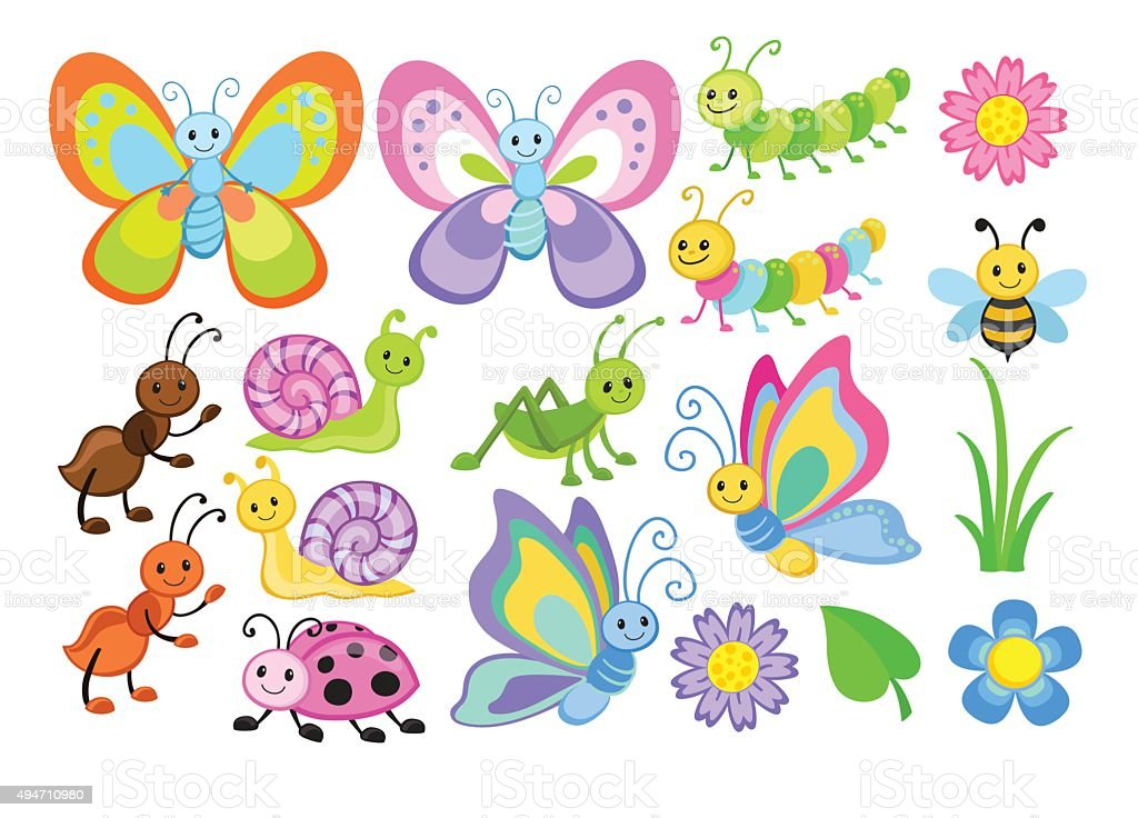 Vector Set of Cute Cartoon Bugs vector art illustration