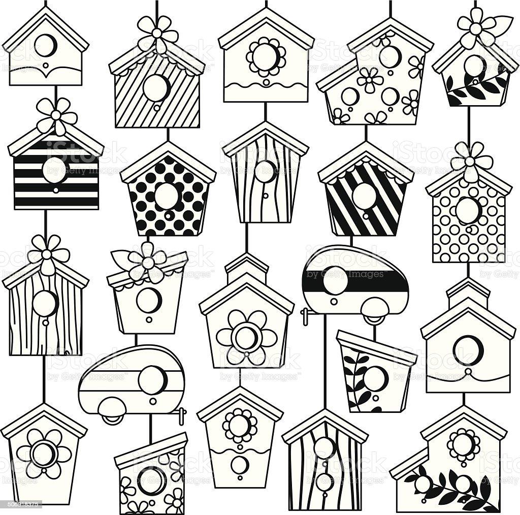 Vector Set of Cute Line Art Birdhouses vector art illustration