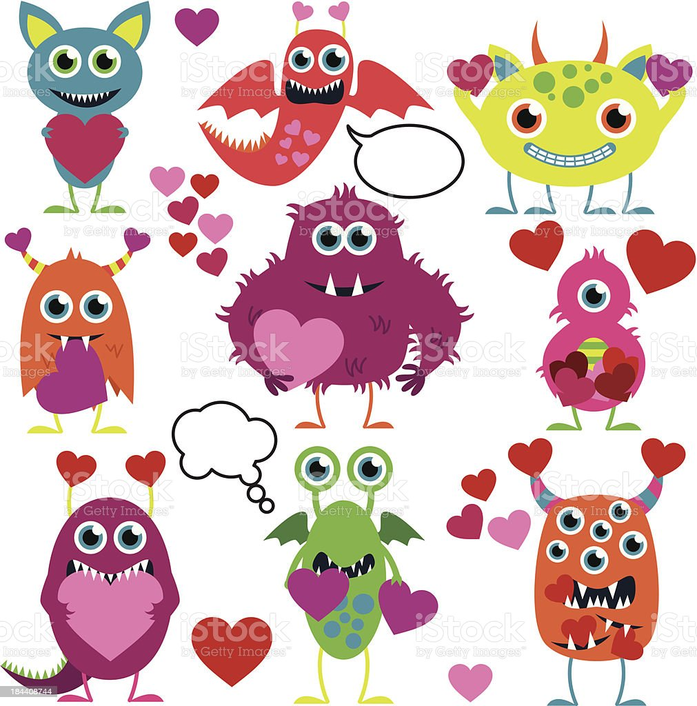 Vector Set of Cute Love Monsters vector art illustration