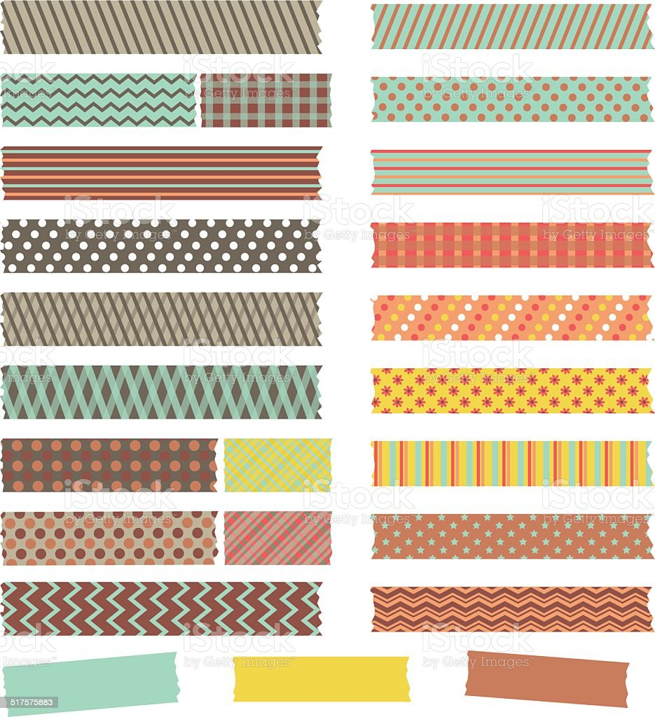 Vector set of cute retro patterned washi tape strips vector art illustration