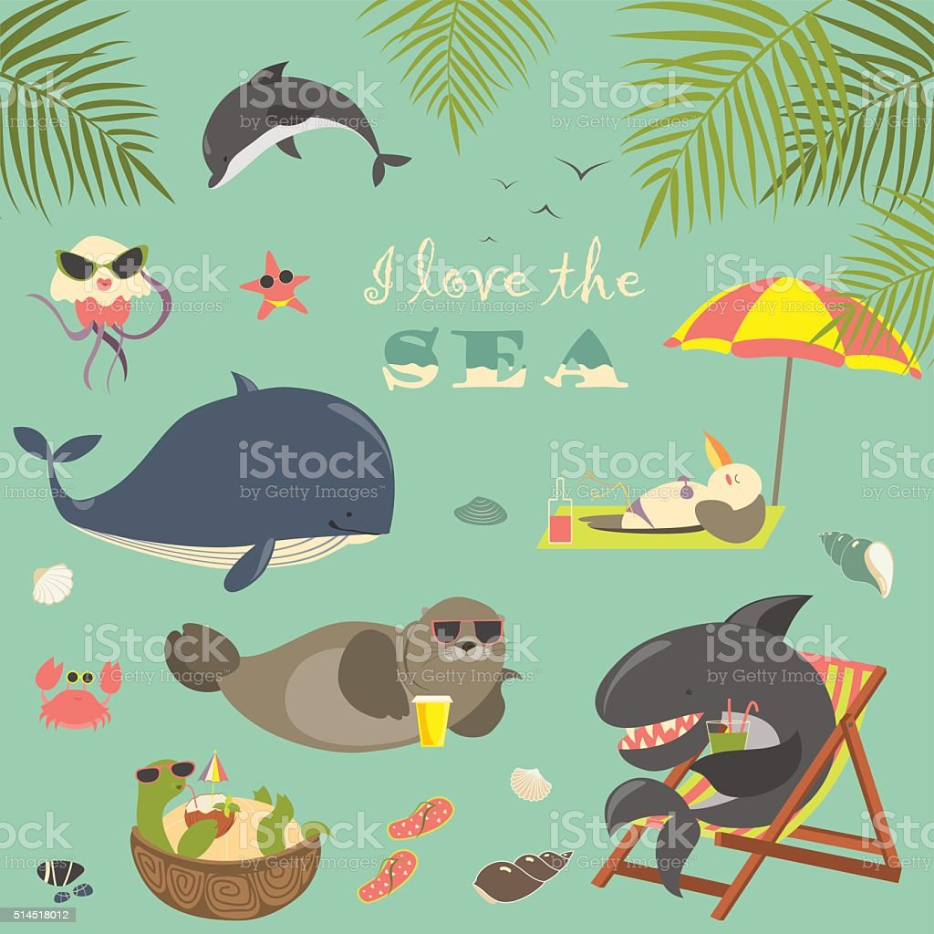 Vector set of cute sea animals on resort vector art illustration