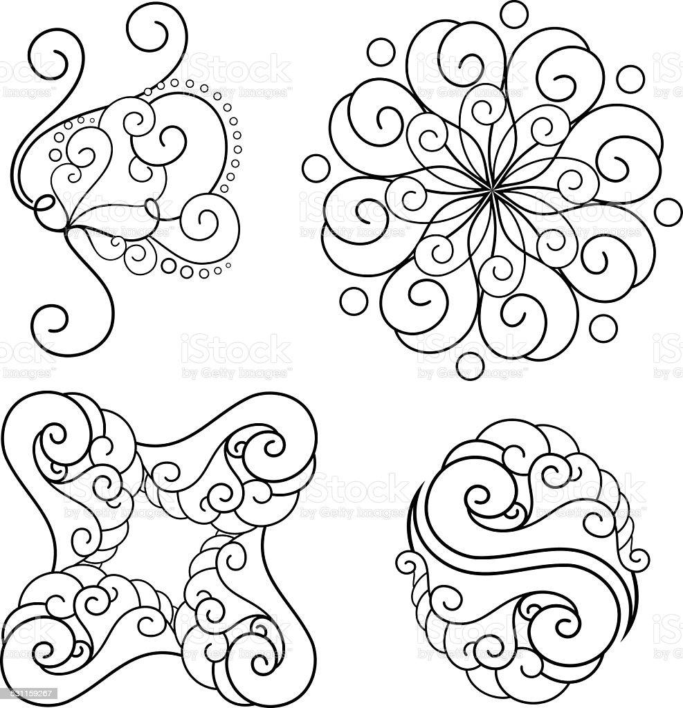 Vector Set of Deco Abstract Elements vector art illustration