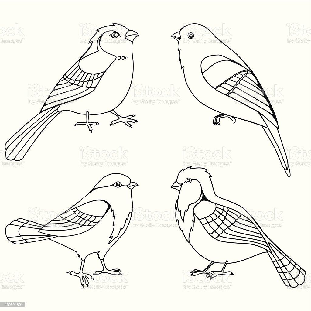 Vector set of decorative birds silhouettes royalty-free stock vector art