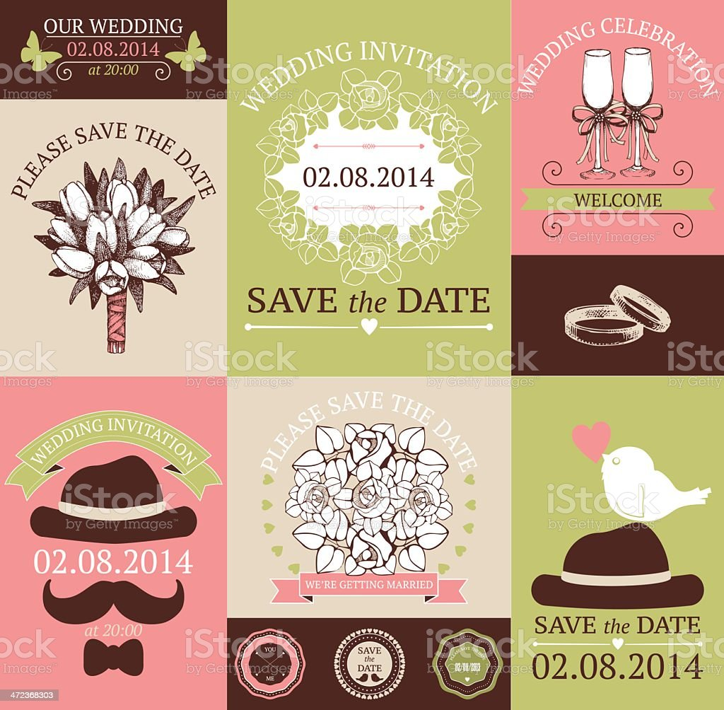 Vector set of decorative wedding cards royalty-free stock vector art
